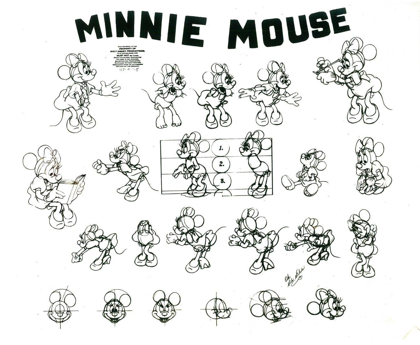 minnie mouse model sheets traditional animation. Black Bedroom Furniture Sets. Home Design Ideas