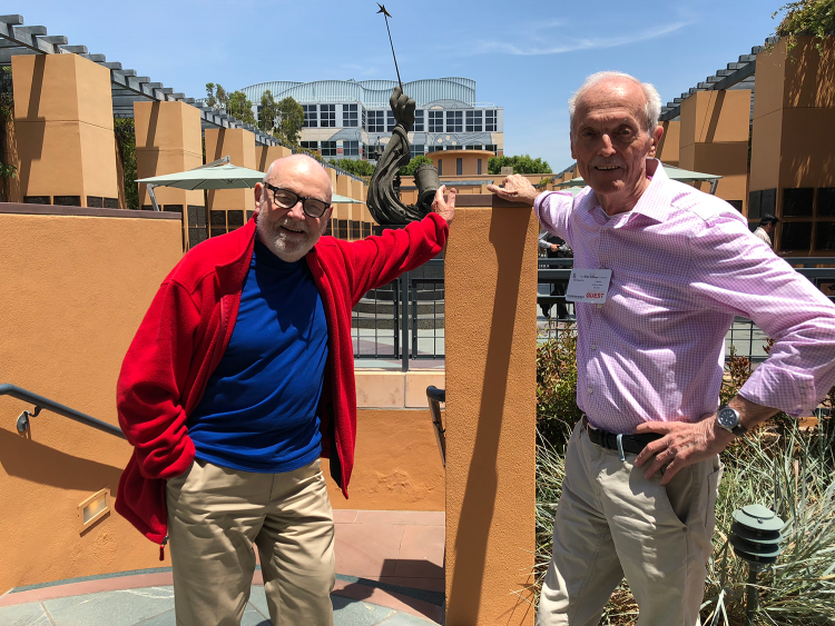 Burny Mattinson & Don Bluth in front of The Legends Plaza