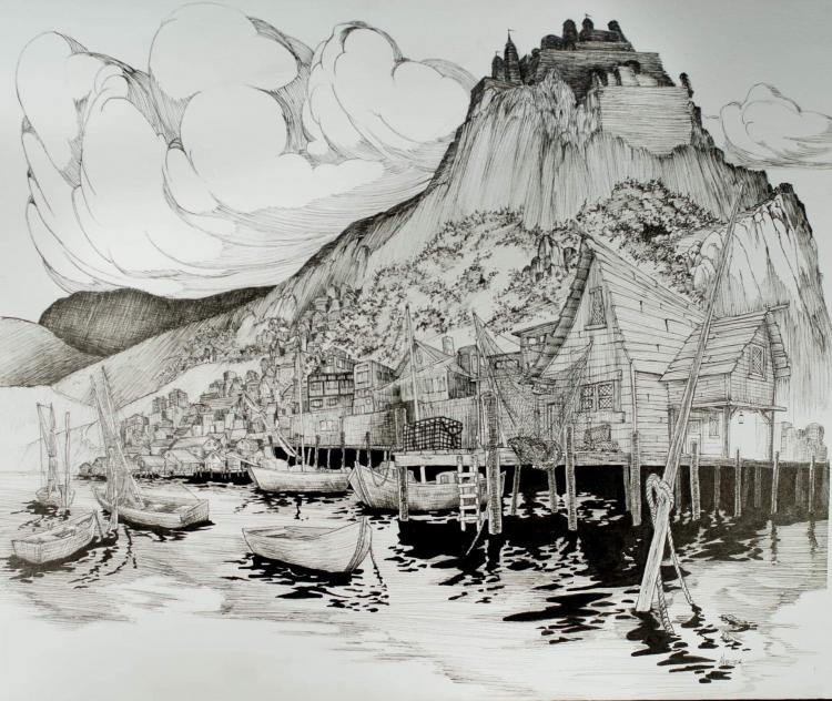 Mauro Maressa pen and ink artwork.
