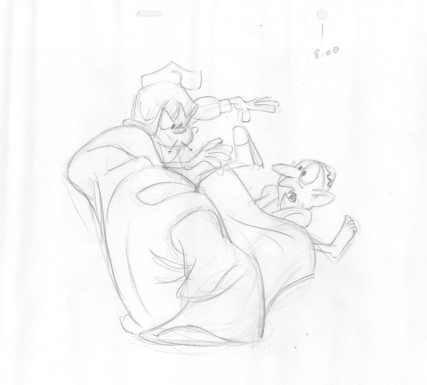 Pencil drawing of a rough animation test of the scene where the Cobbler and the Thief become tangled up.  From a rough animation test by legendary animator Art Babbitt.