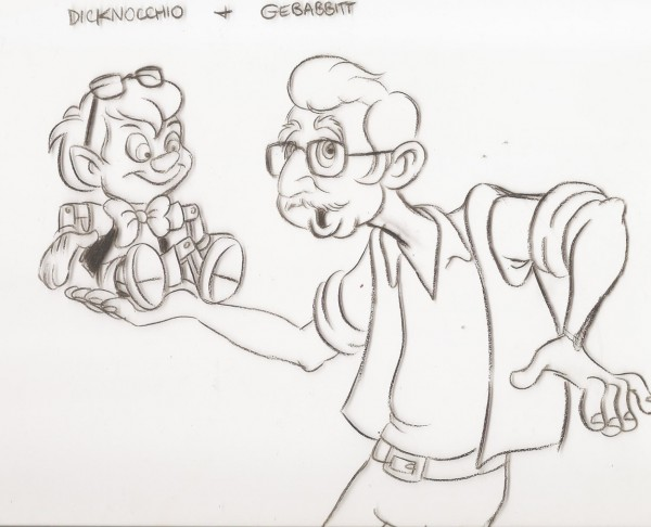 Caricatures of Richard Williams and his mentor, Art Babbitt, drawn by animator Eric Goldberg
