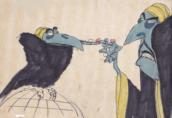 Early drawing of ZigZag and his vulture by Richard Williams, 1970-73.