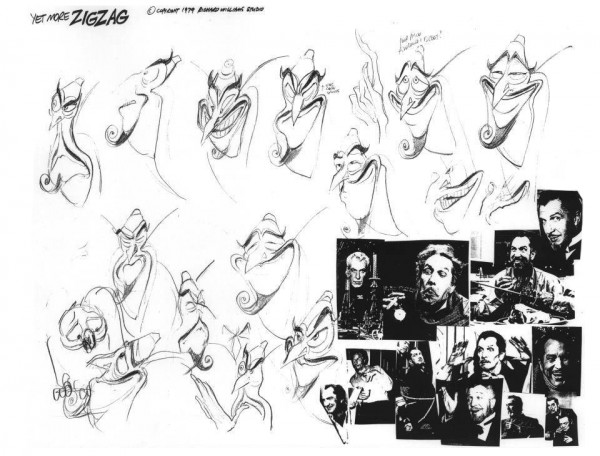 Model sheet of ZigZag, based on the voice of the character, actor Vincent Price.  Drawn by Richard Williams, 1979.
