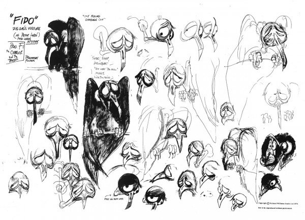 "Model sheet of ZigZag's vulture, ""Fido"" (sometimes spelled ""Phido""), drawn by Richard Williams, 1974"