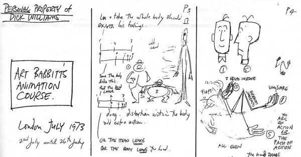Notes by Richard Williams from Art Babbitt's animation lectures in late July 1973.  These would eventually become part of the blueprint for his book, The Animator's Survival Kit