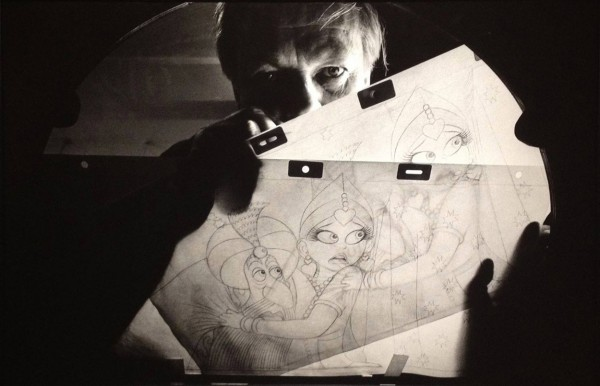 "Photograph of Richard Williams animating a scene from ""The Thief and the Cobbler,"" early 1992"