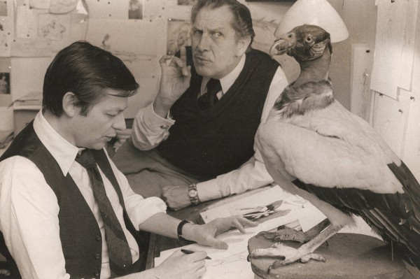 Richard Williams and actor Vincent Price develop their villainous character, who eventually became ZigZag the Grand Vizier.  At the studio at 13 Soho Square, London, 1970.  Their collaboration is discussed (with several more images) in a deleted scene on the DVD.