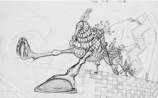 Rough layout drawing of the Dying Soldier returning to the Golden City by Art Babbitt